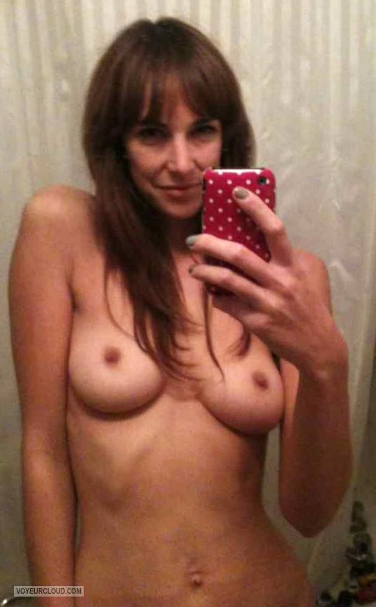 Tit Flash: My Medium Tits (Selfie) - Topless Barbara from United States
