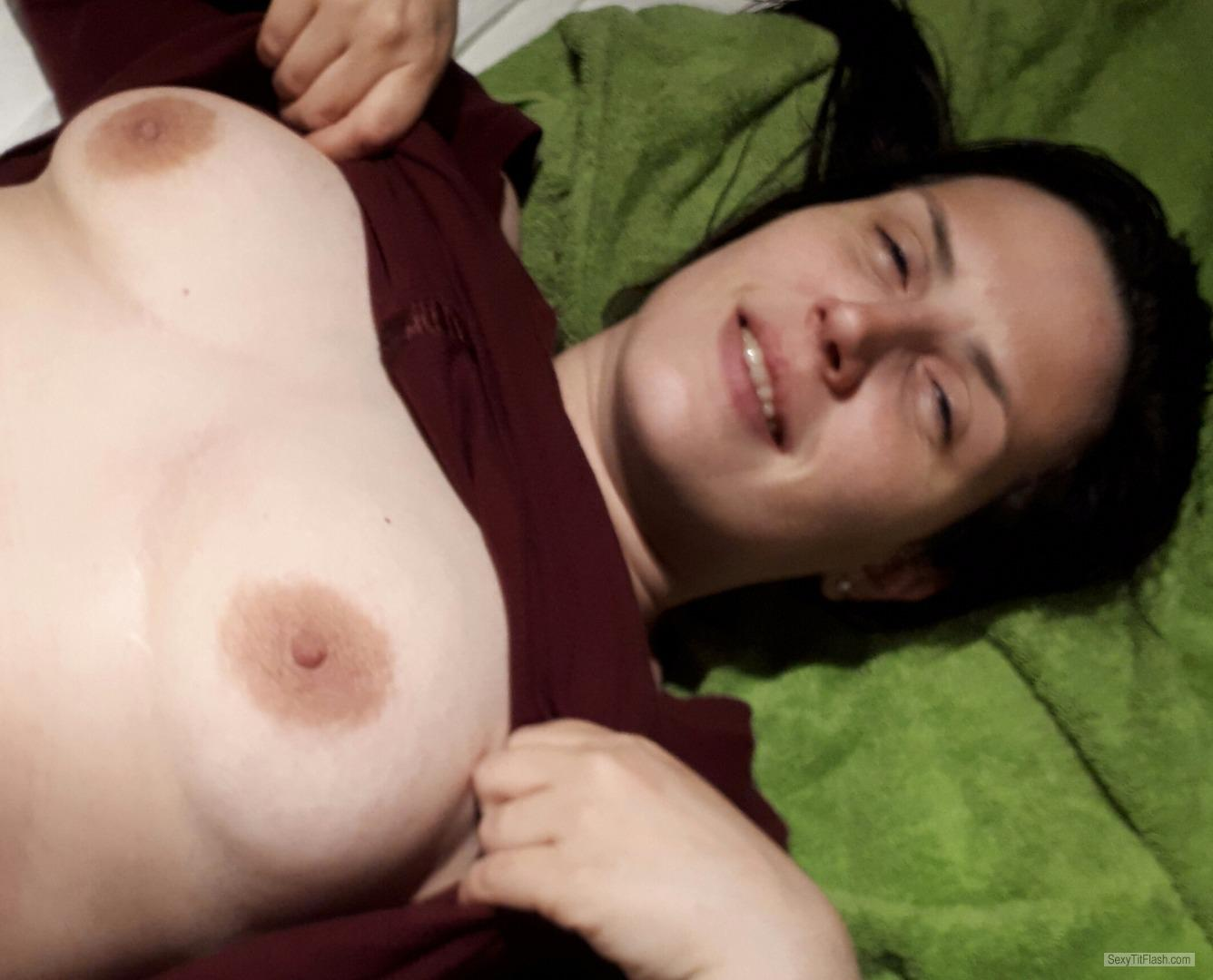 Tit Flash: Wife's Medium Tits - Topless Deve from United Kingdom