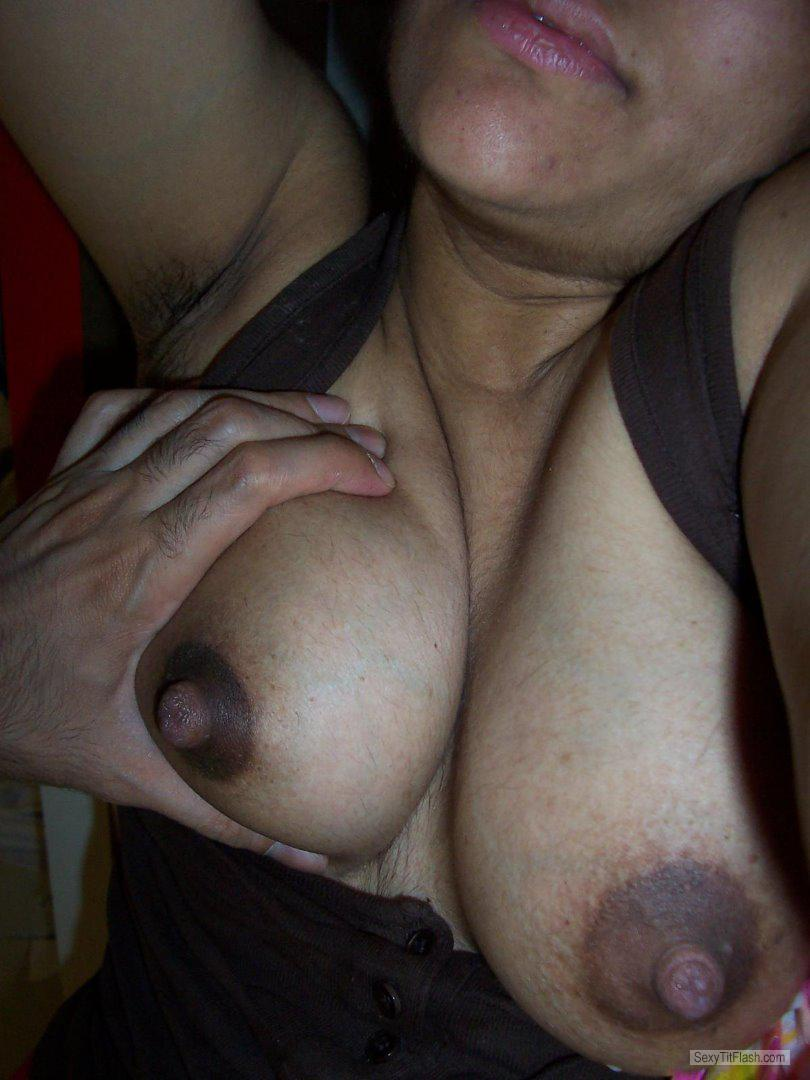 Tit Flash: Wife's Medium Tits - Topless Priyades from United Kingdom