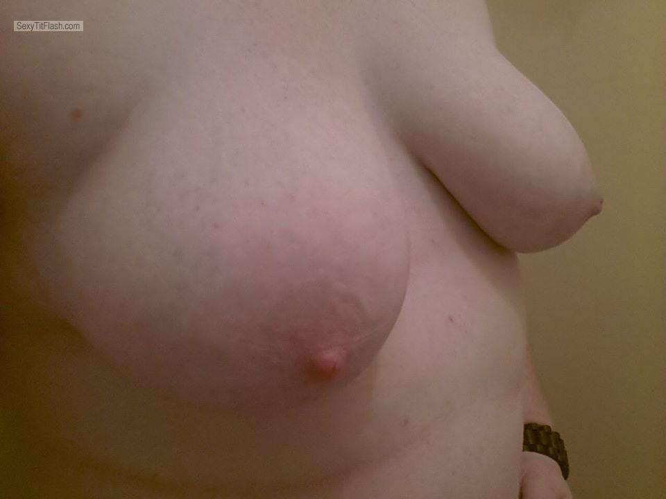 Tit Flash: My Friend's Medium Tits (Selfie) - Londonflasher from Australia