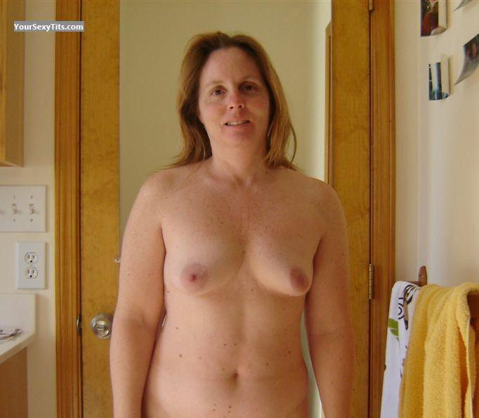 Tit Flash: Wife's Medium Tits - Topless Cute MILF from United States