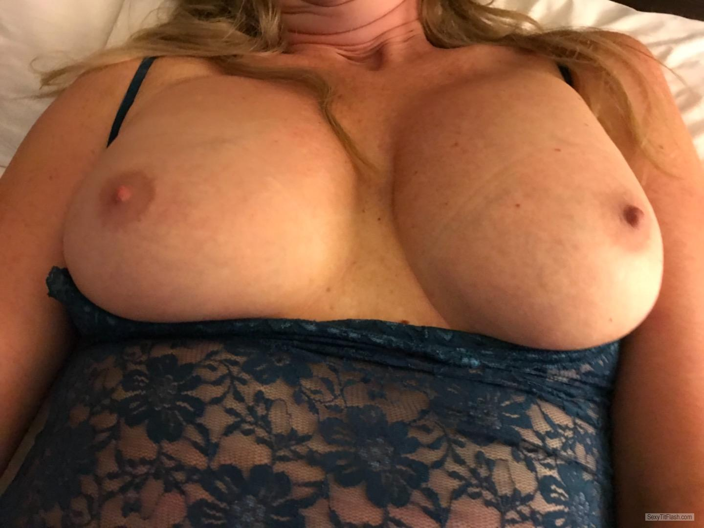 Tit Flash: Wife's Medium Tits - Wife After Wedding from United States