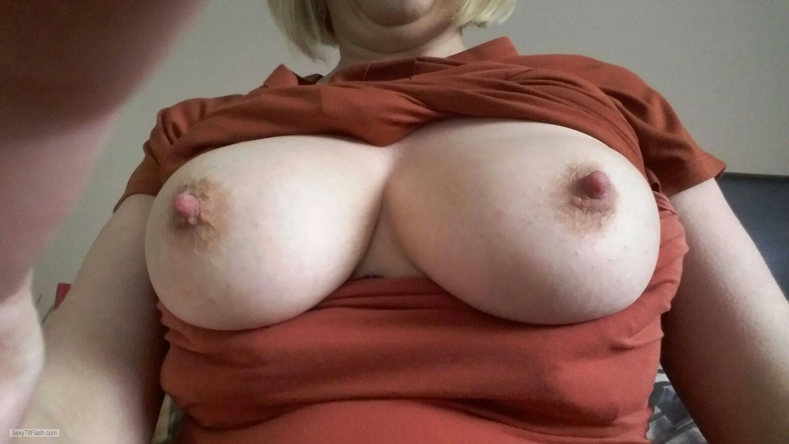 Tit Flash: My Medium Tits (Selfie) - Ellens Boobs, Late Forties from United Kingdom