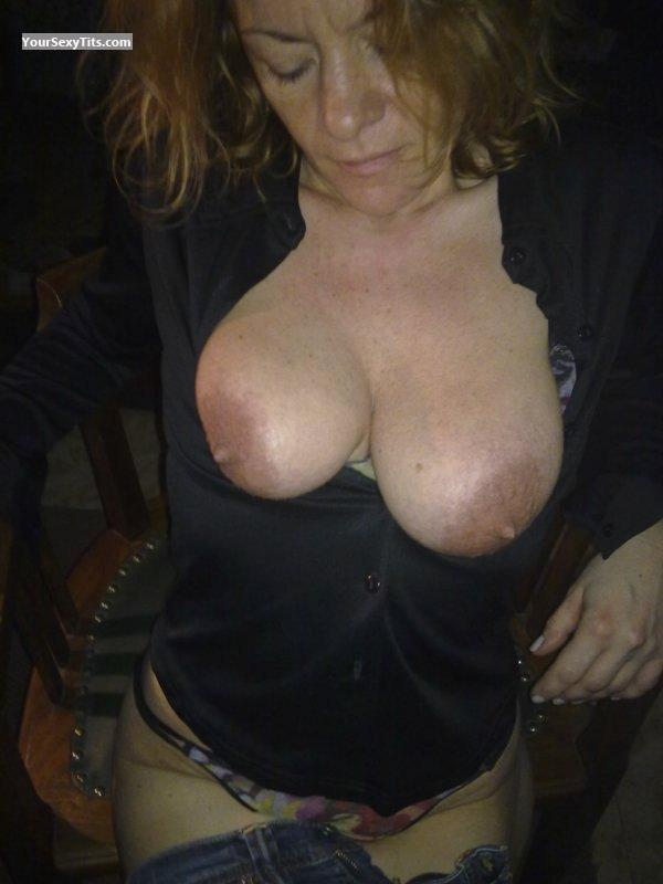 Tit Flash: Medium Tits - Topless CORALIE from France