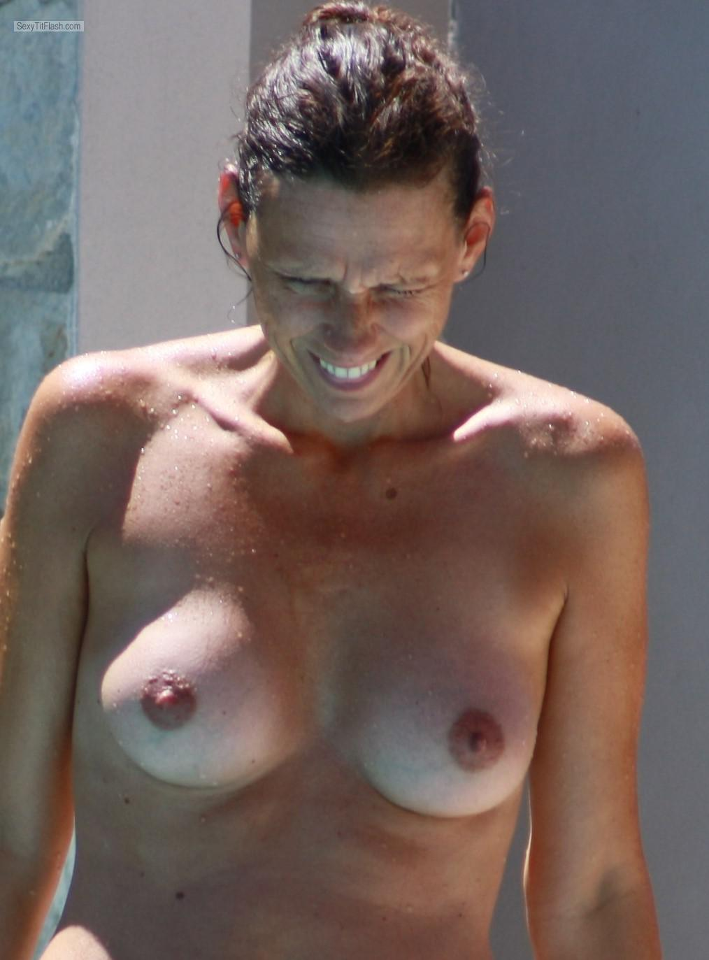 Tit Flash: Wife's Small Tits With Strong Tanlines - Topless Sweetie from Germany