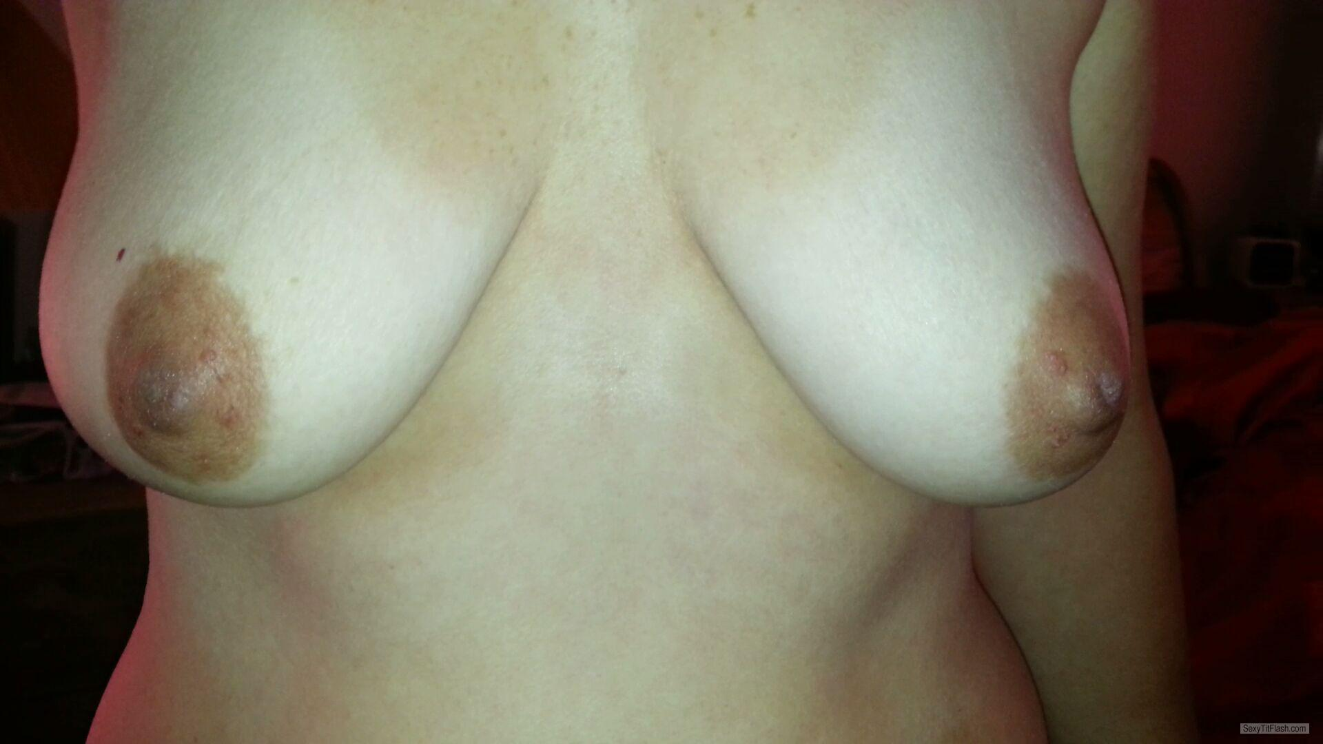 Tit Flash: Wife's Medium Tits - FYI from United States