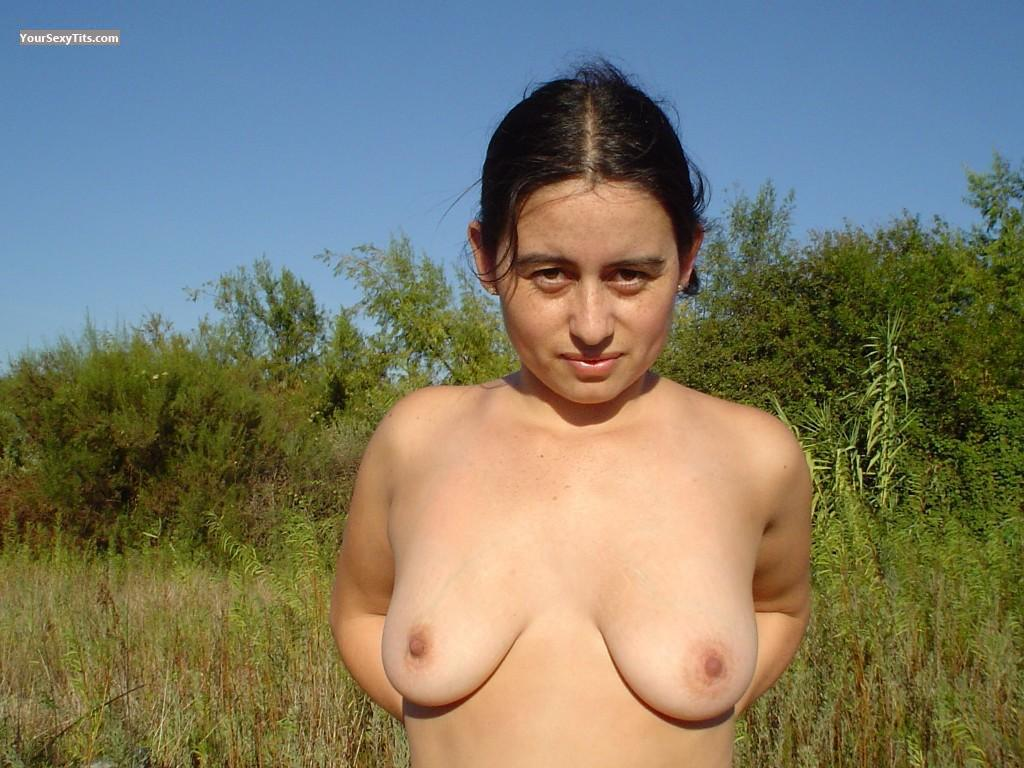 Tit Flash: Medium Tits - Topless Alexandra from Chile