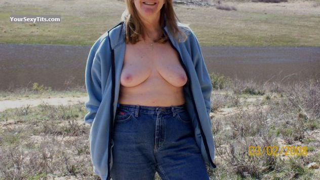 Tit Flash: Wife's Medium Tits - Anne from United States
