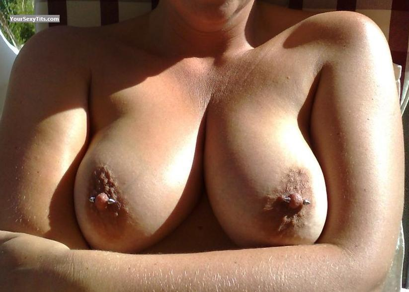 Tit Flash: Medium Tits - HOOPS from United KingdomPierced Nipples