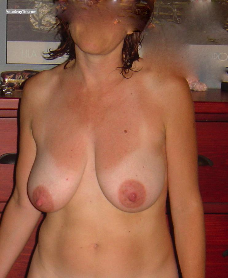 Tit Flash: Wife's Medium Tits - Denice from United States