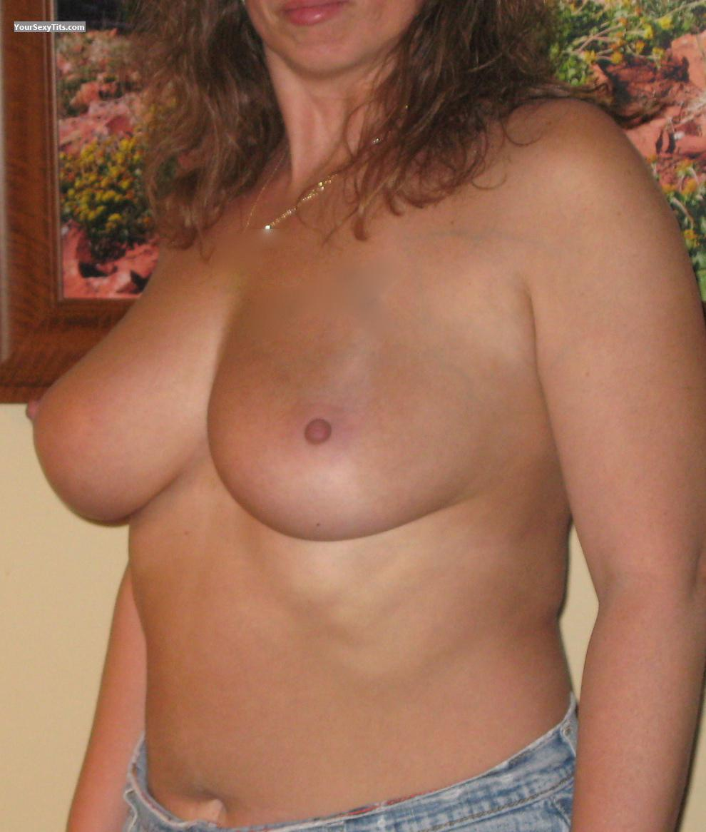 Tit Flash: Wife's Tanlined Medium Tits - Bean from United States