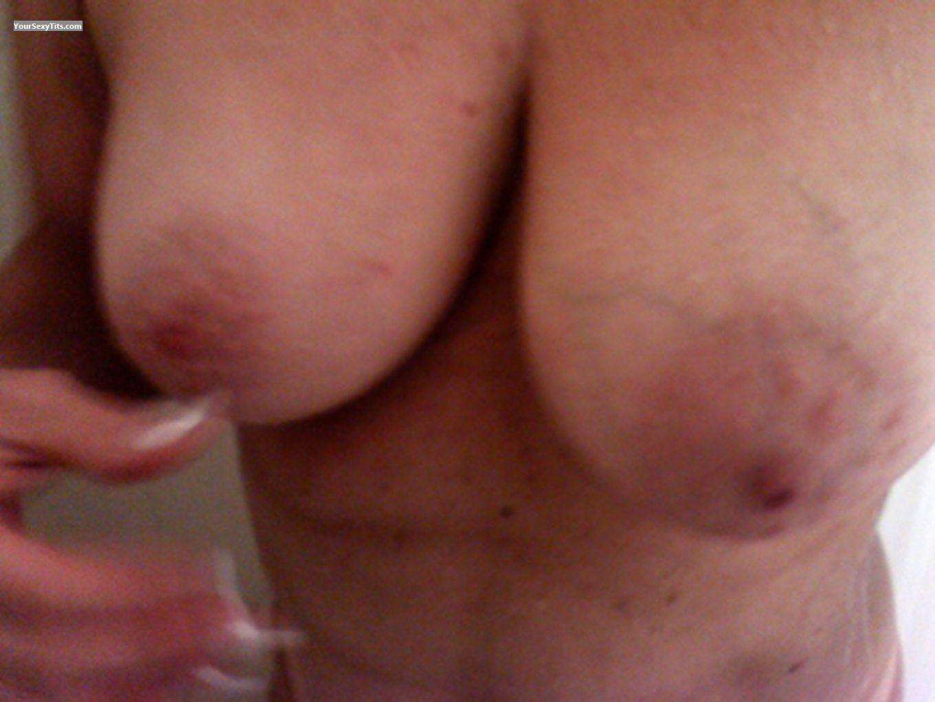 Tit Flash: Wife's Medium Tits - Boob from United States