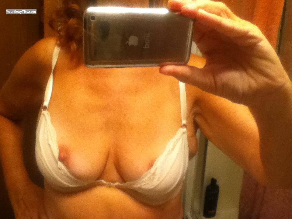 Tit Flash: Wife's Medium Tits (Selfie) - Sandy from United States