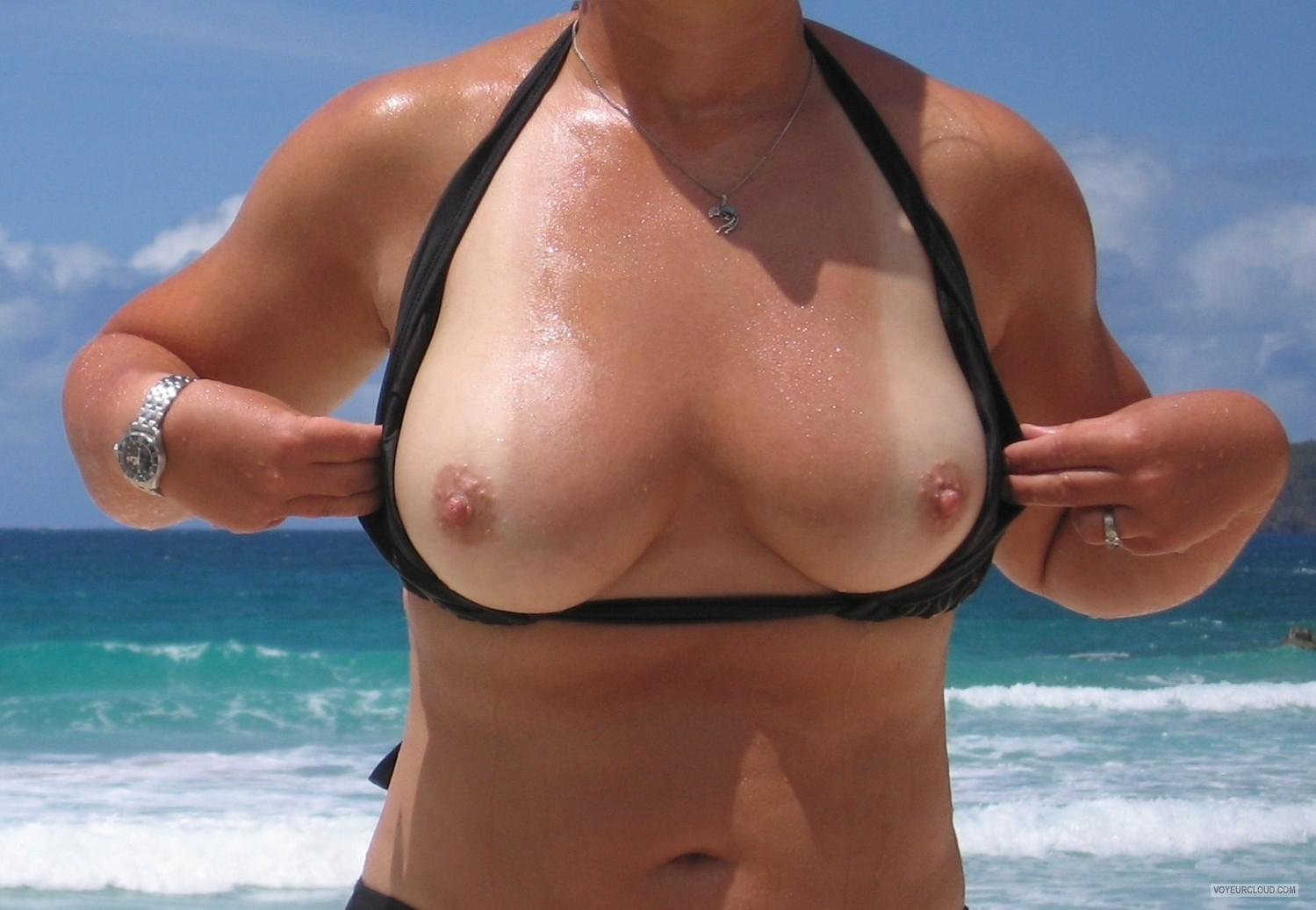 Tit Flash: My Tanlined Medium Tits - Faans Flasher from Angola