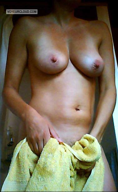 Tit Flash: Wife's Tanlined Medium Tits - Wife Tan 34D from United States