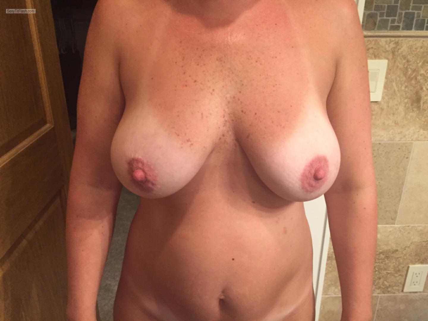 Tit Flash: Wife's Tanlined Medium Tits - Lisas from United States