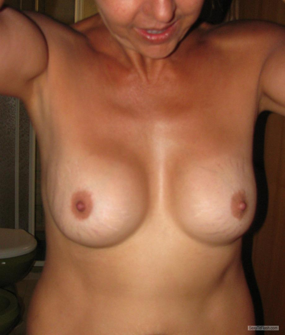 Tit Flash: Wife's Medium Tits - MoglieNuda from Italy
