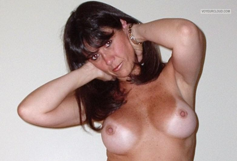 Tit Flash: My Tanlined Medium Tits - Topless Shila from Italy