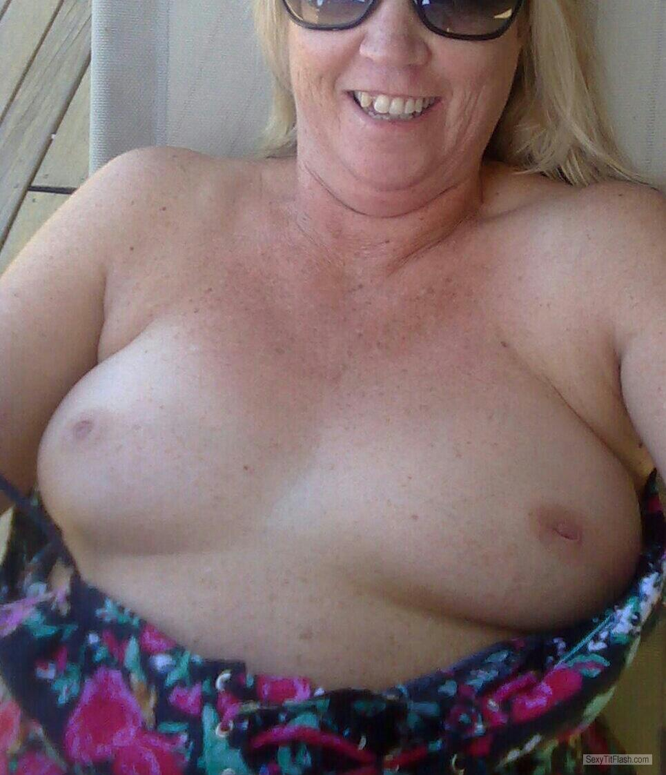 Tit Flash: Wife's Medium Tits - My Wife from United States
