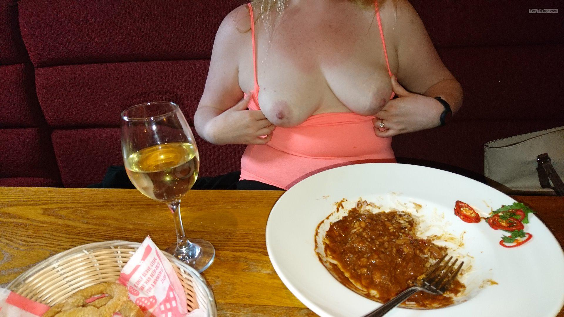 Tit Flash: My Medium Tits - Topless Brewers Fayre Prestwick from United Kingdom