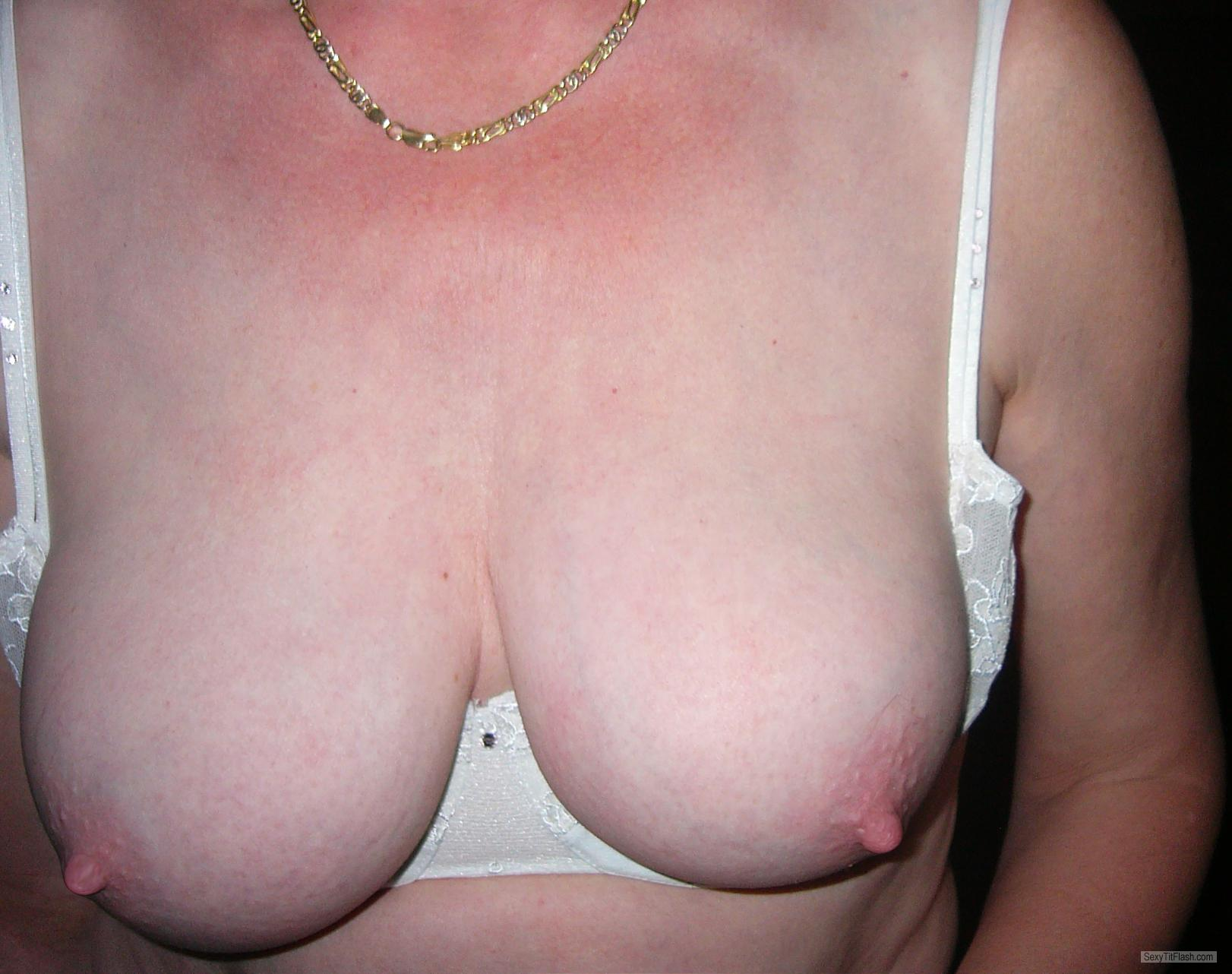 Tit Flash: Wife's Tanlined Medium Tits - Lydia from Belgium
