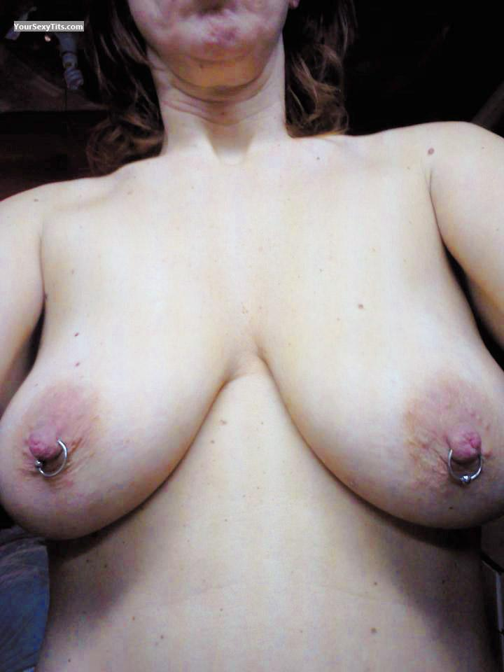 Tit Flash: My Medium Tits (Selfie) - RERE from United StatesPierced Nipples
