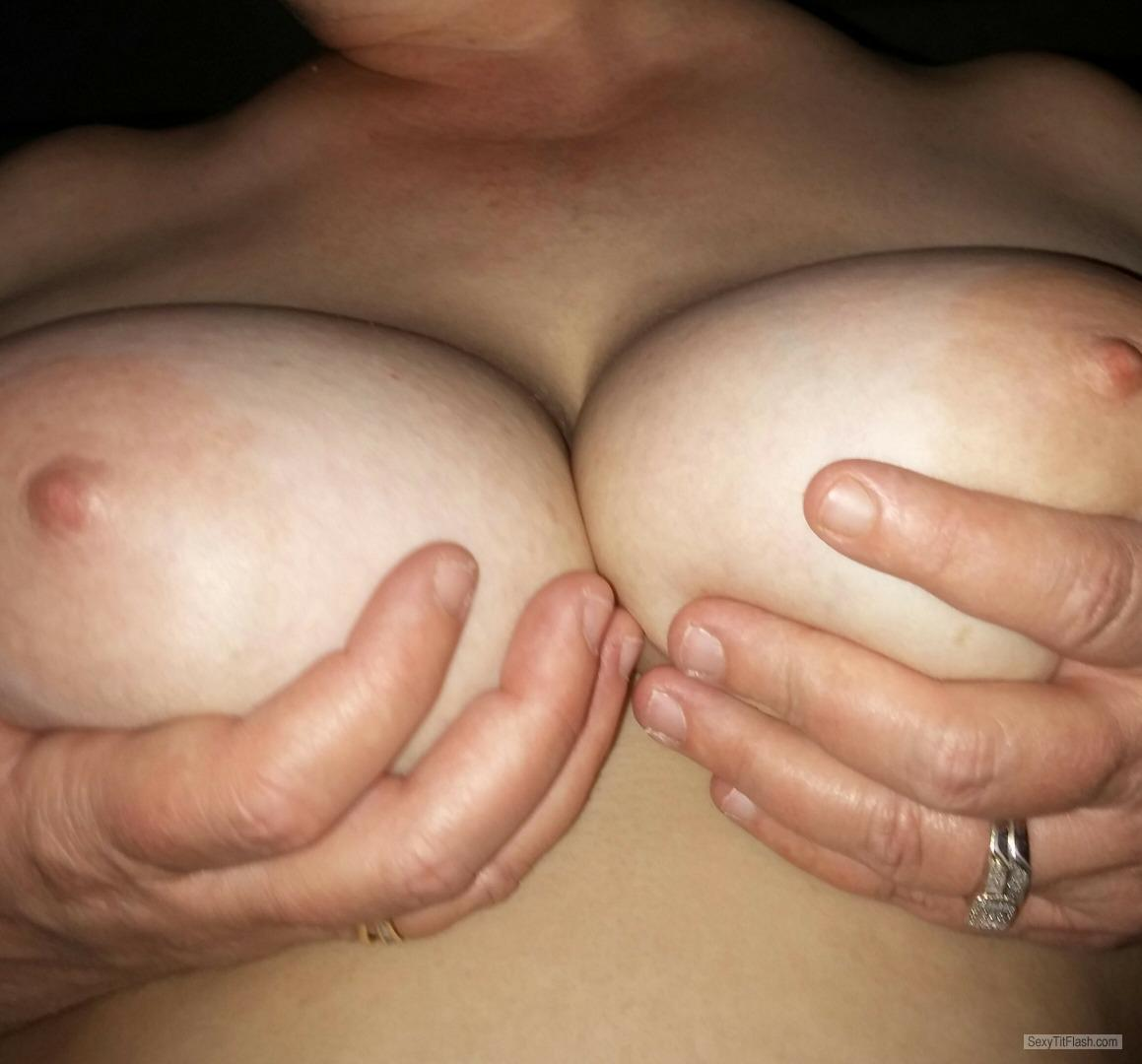 Tit Flash: Wife's Medium Tits - Sweet from United States