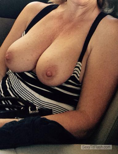 Tit Flash: Wife's Medium Tits - MJ's Night Out from United States