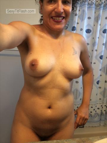 Tit Flash: My Medium Tits (Selfie) - Topless Daisy from Canada