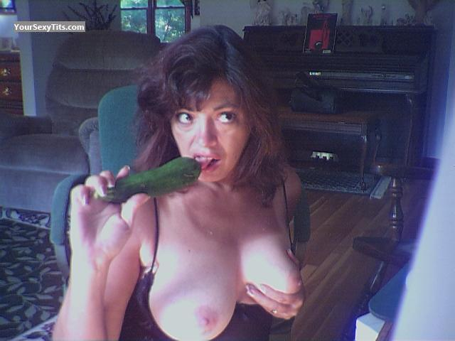 Tit Flash: My Medium Tits (Selfie) - Topless Marie from United States
