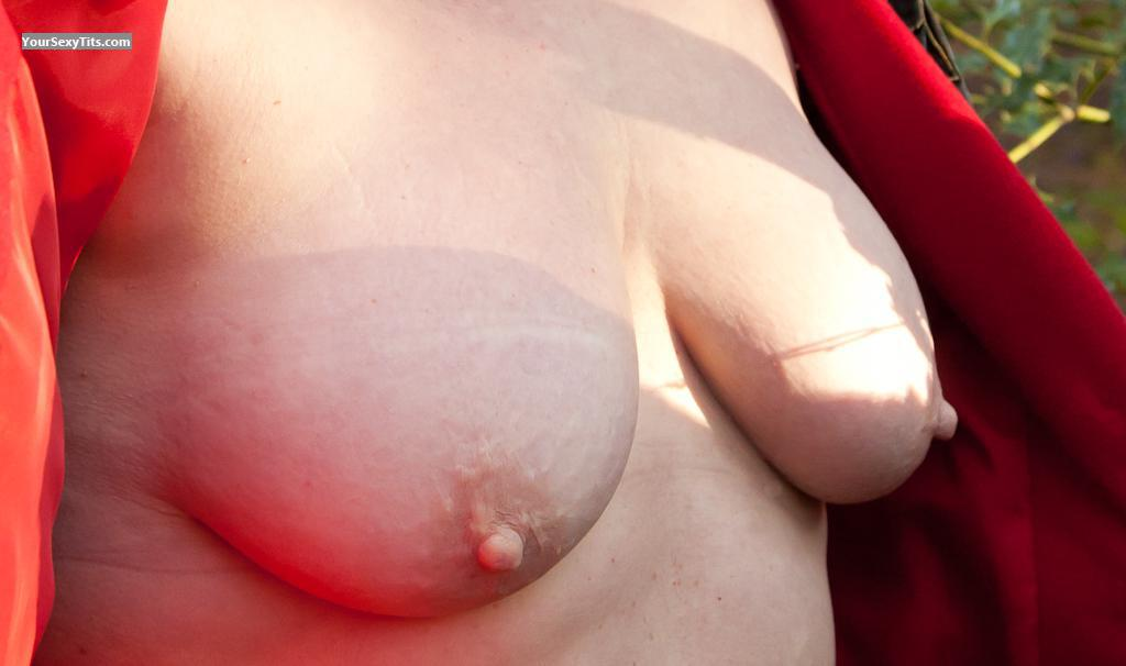 Tit Flash: Wife's Medium Tits - Polly from United Kingdom