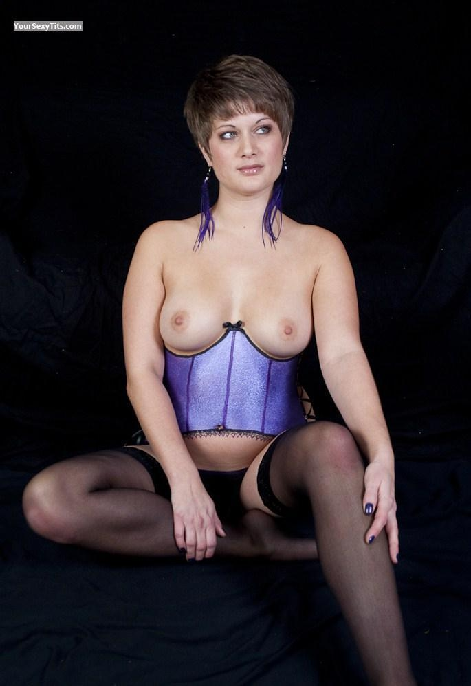 Tit Flash: Medium Tits - Topless Body Painted Cutie from Canada