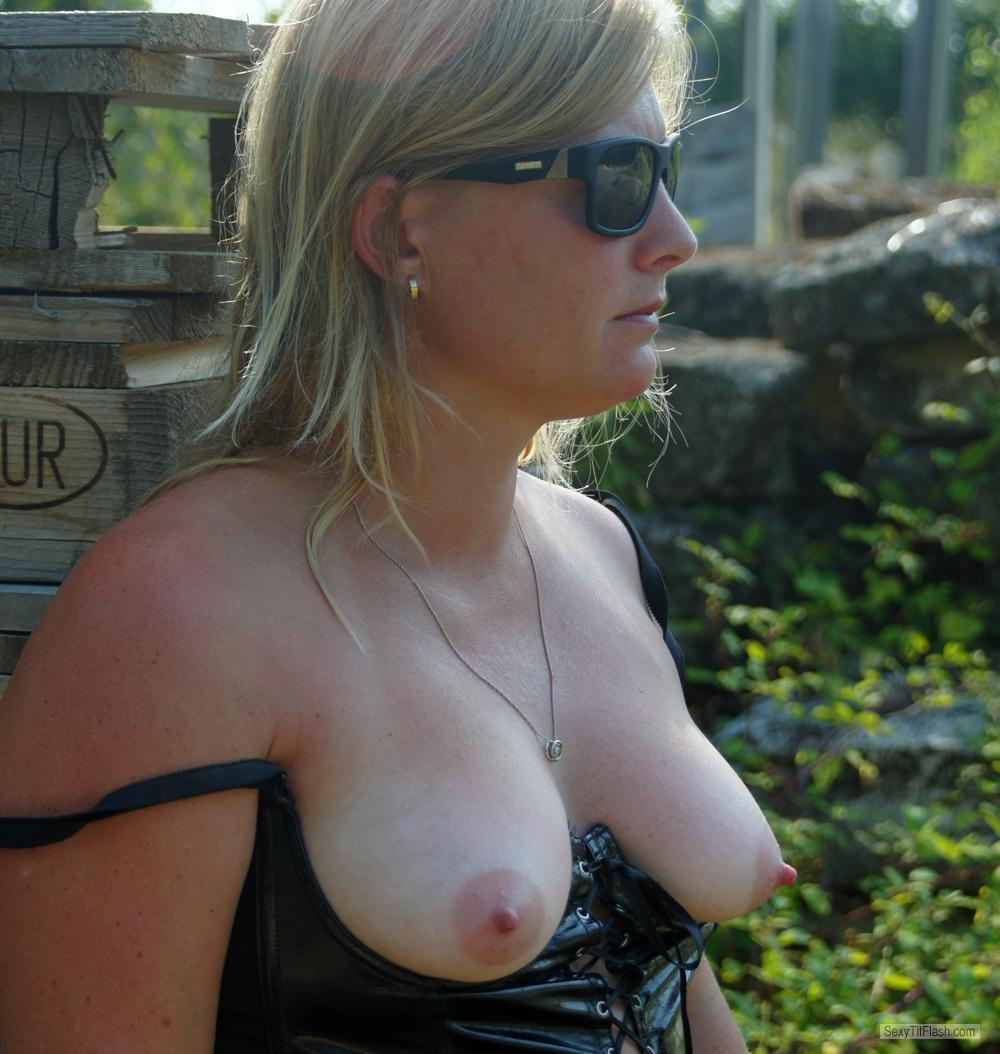 Tit Flash: My Tanlined Medium Tits - Topless Flirty from Belgium