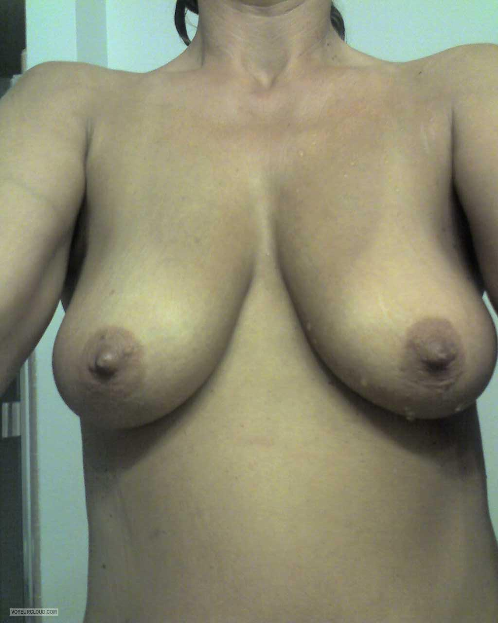 Tit Flash: Wife's Tanlined Medium Tits (Selfie) - Zawife from United States