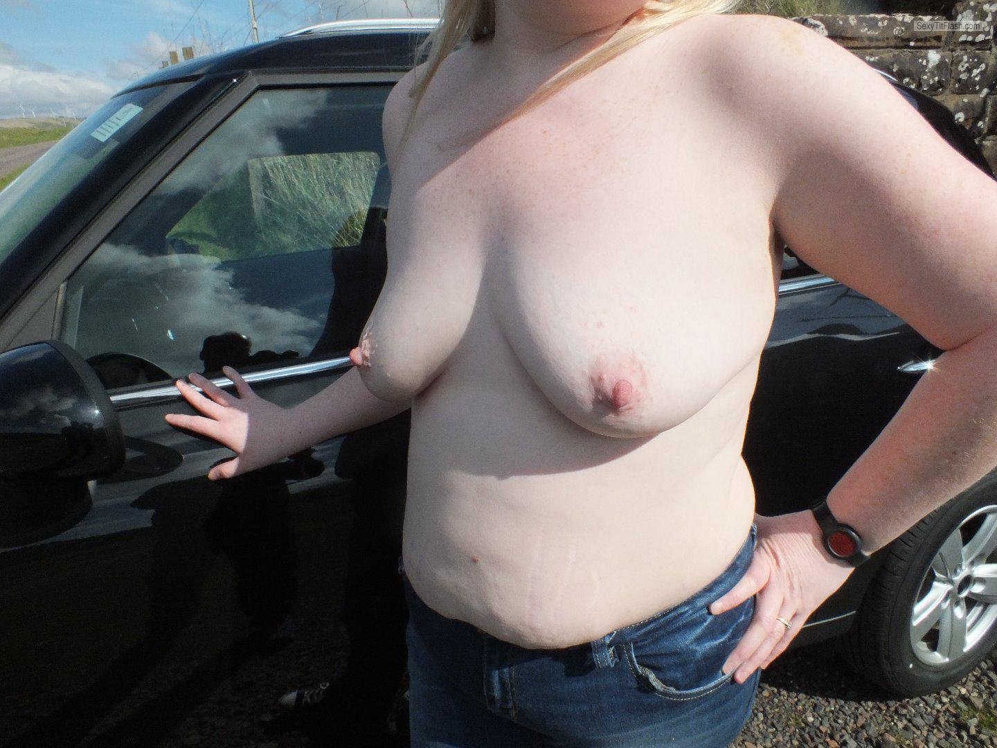 Tit Flash: My Medium Tits - Topless My Wife from United Kingdom