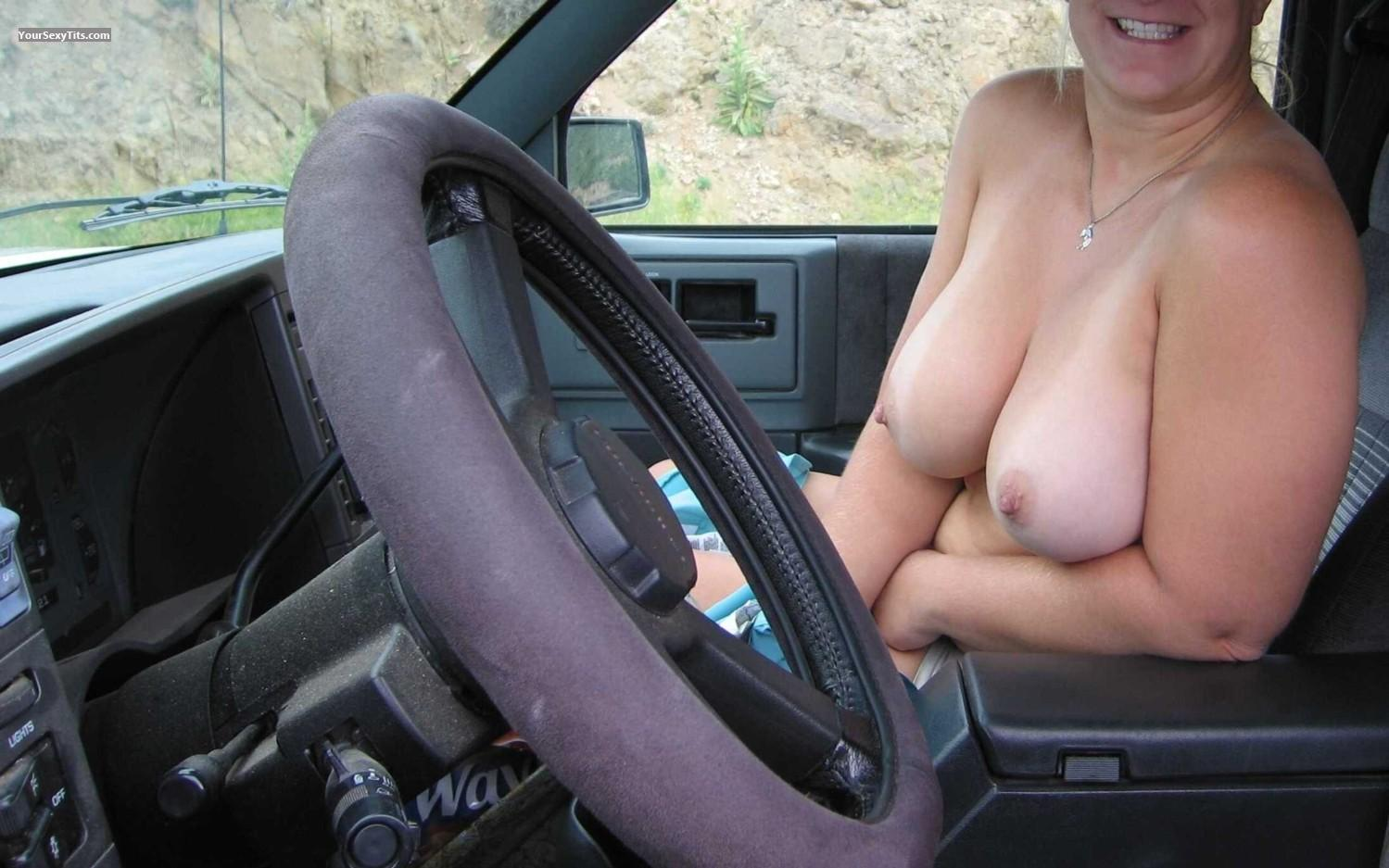 Boob flash on highway