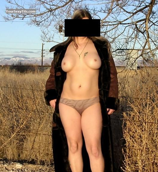 Tit Flash: Wife's Medium Tits - LL from United States