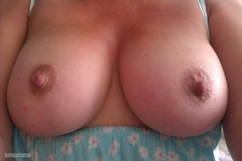 Tit Flash: My Friend's Medium Tits (Selfie) - My Sub! from United Kingdom