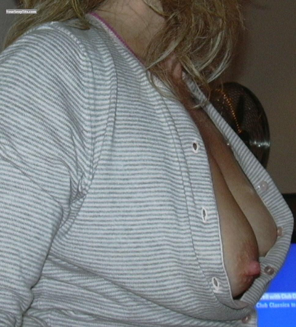 Tit Flash: Wife's Medium Tits - Julie from United Kingdom