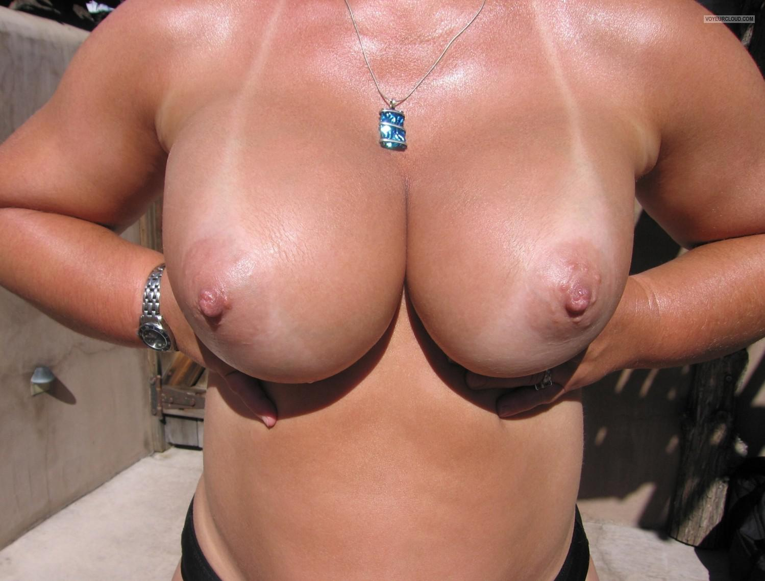 Tit Flash: My Tanlined Big Tits - Faans Flasher from United States