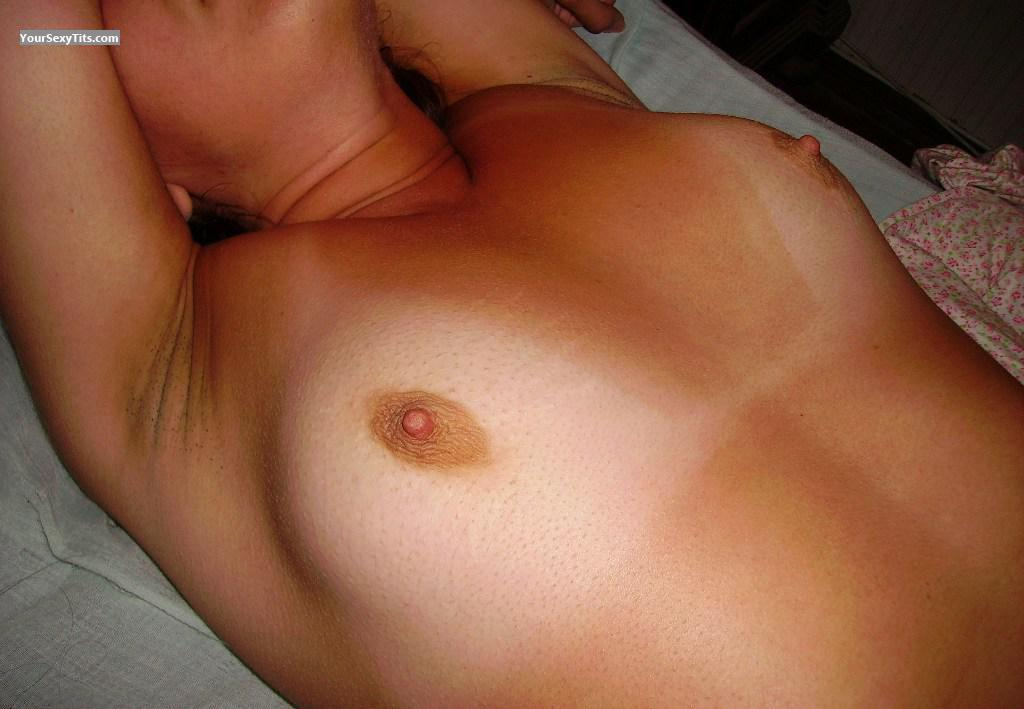 Tit Flash: Girlfriend's Tanlined Medium Tits - Latina from Chile