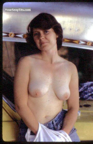 Tit Flash: Medium Tits - Topless CountyRoad from United States