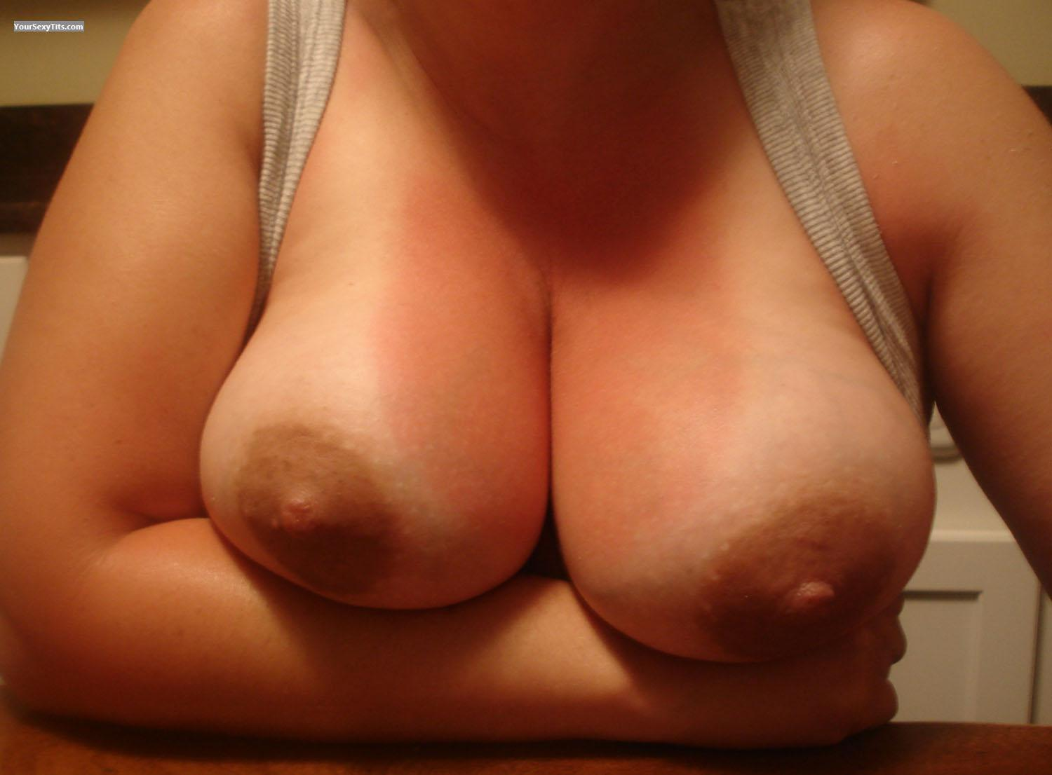 Tit Flash: Wife's Tanlined Medium Tits - Happy from United States