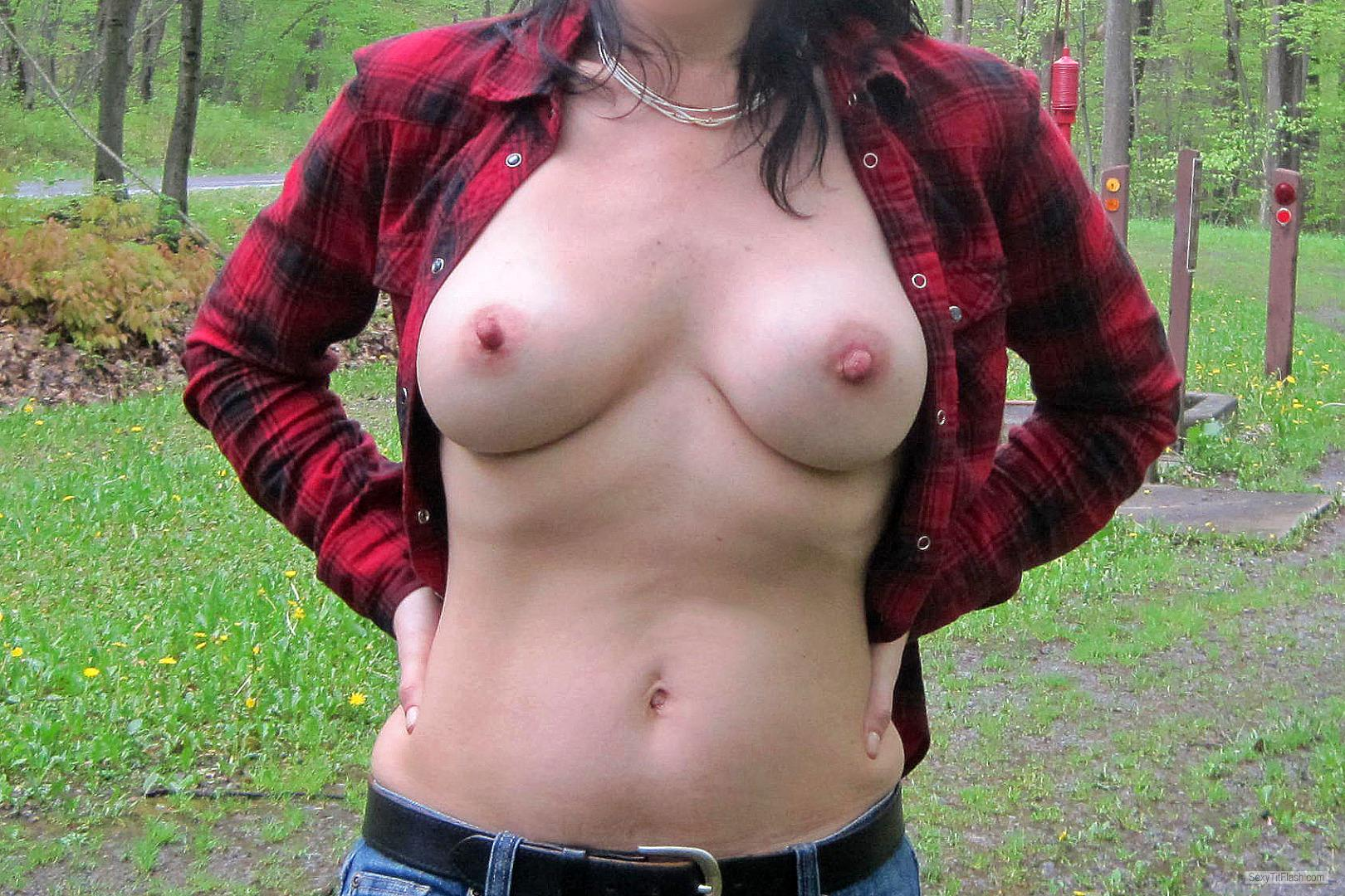 Tit Flash: Girlfriend's Tanlined Medium Tits - Bella from United States