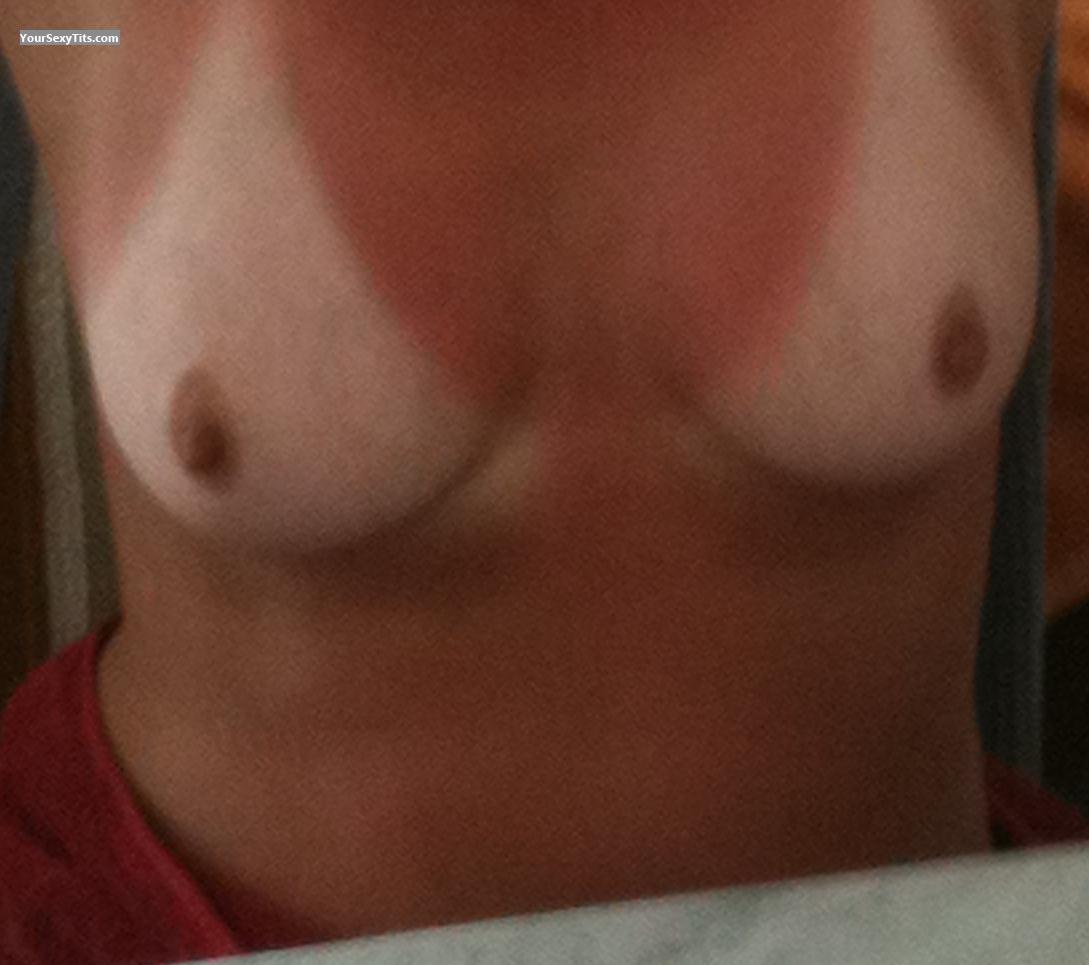 Tit Flash: Wife's Medium Tits With Very Strong Tanlines - Hornyboobs from United Kingdom