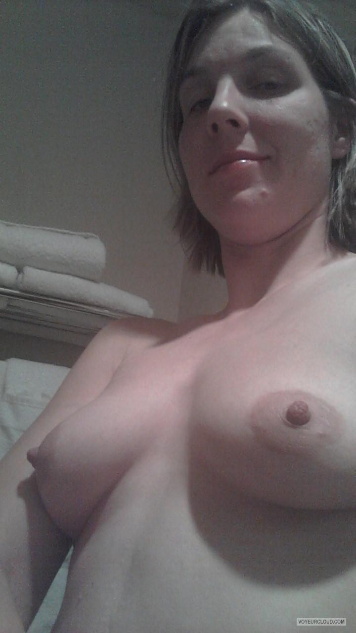 Medium Tits Of My Wife Topless Selfie by Linnea