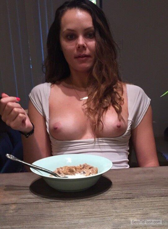 Tit Flash: Room Mate's Medium Tits - Topless Hot Jen from United Kingdom