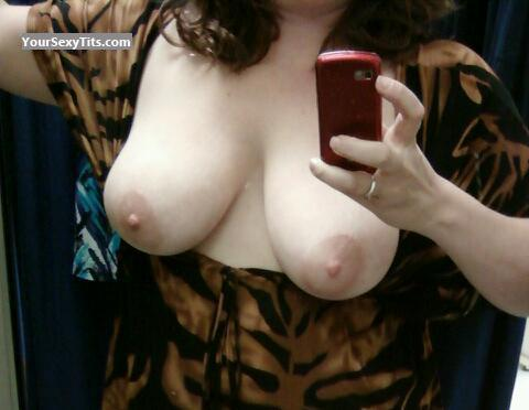 Tit Flash: Wife's Medium Tits (Selfie) - Ms L from United States