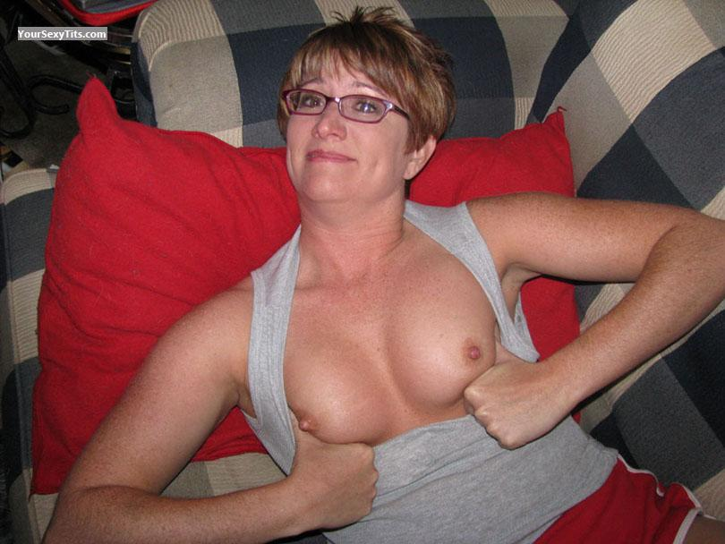 Tit Flash: Medium Tits - Topless Redhot from United States