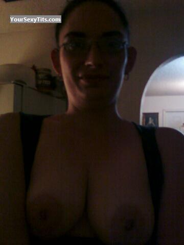 Tit Flash: My Medium Tits (Selfie) - Topless Melanie from United States